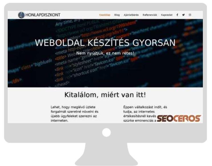 weboldal kinézete monitoron